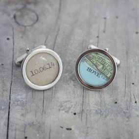 Personalised Vintage Map Message Cufflinks