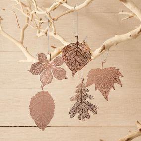 Set Of Five Copper Leaf Decorations