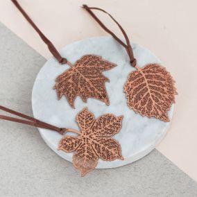 Set of Three Copper Leaf Decorations