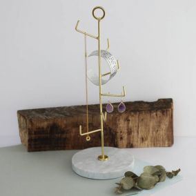 Staggered Brass and Marble Jewellery Stand