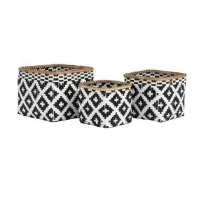 Trio of Tribal Monochrome Bamboo Baskets