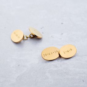Personalised Oval Chain-link Cufflinks