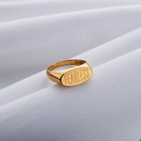 Personalised Engraved Oval Signet Ring