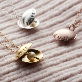 Personalised Oyster Pearl Charm Necklace