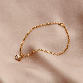 9ct Gold Pearl & Shell Charm Bracelet