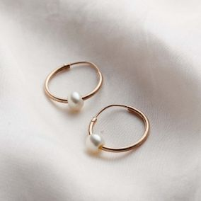 9ct Gold Pearl Hoop Earrings