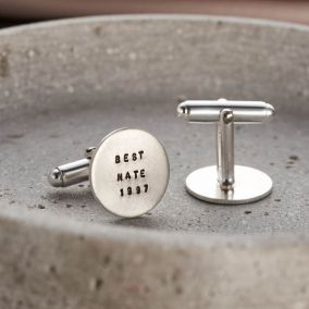 Personalised Brushed Silver Cufflinks