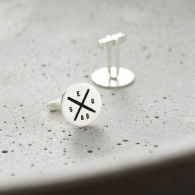 Personalised Silver Circle Cross Cufflinks