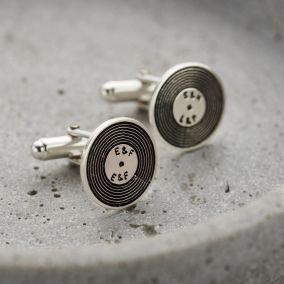 Personalised Silver Vinyl Record Cufflinks