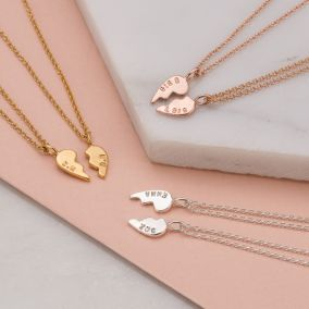 Personalised Piece Of My Heart Necklace Set