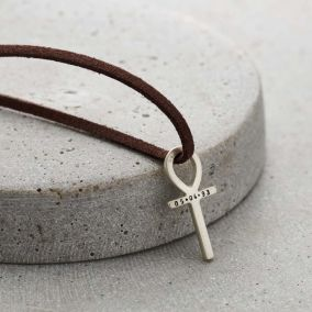 Personalised Men's Ankh Necklace with leather cord
