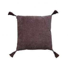 Purple Velvet Square Cushion with Tassels