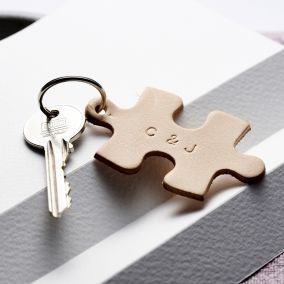 Personalised Leather Jigsaw Keyring