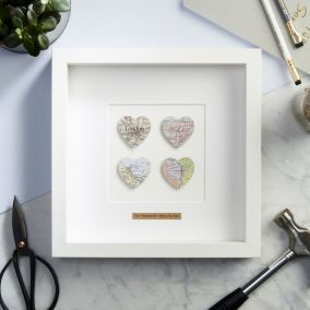 Personalised Four Hearts Map Picture