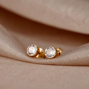 Round 9ct Gold Stud Earrings with Cubic Zirconia