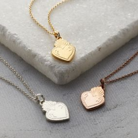 Personalised Flaming Heart Necklace