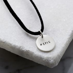 Personalised Men's Silver Disc Necklace With Leather Cord