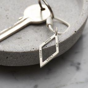 Personalised Silver Rhombus Keyring