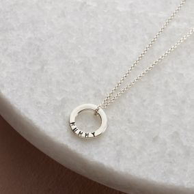 Personalised Satin Hammered Mini Message Necklace