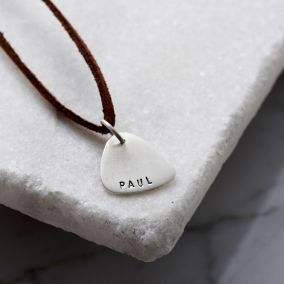 Personalised Men's Silver Plectrum Necklace With Leather Cord