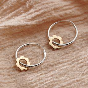 Mini Scalloped Flower Hoop Earrings