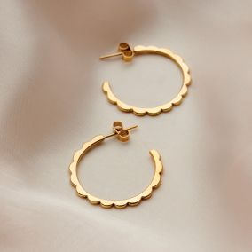 Personalised Scalloped Hoop Earrings