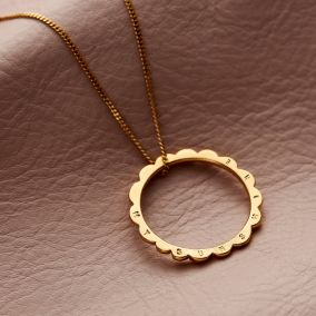Personalised Scalloped Circle Necklace