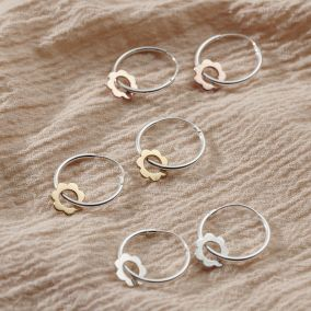 Mini Scalloped Flower Hoop Earrings