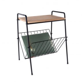 Black Wire Side Table with Magazine Rack