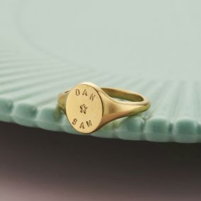 9ct Personalised Handstamped Signet ring