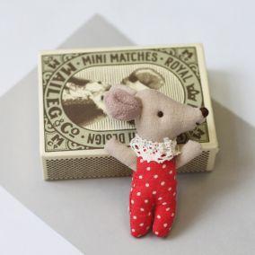 Vintage Style Sleepy Baby Matchbox Mouse