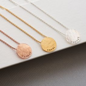 Personalised Small Hammered Disc Necklace