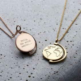 Personalised Spinning Globe Necklace