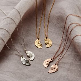 Split Coin Personalised Friendship Necklace Set
