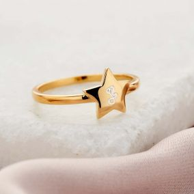 Personalised Engraved Initial Star Ring