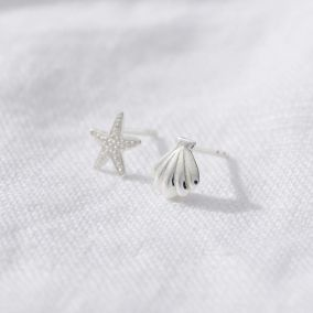 Starfish and Shell Stud Earrings
