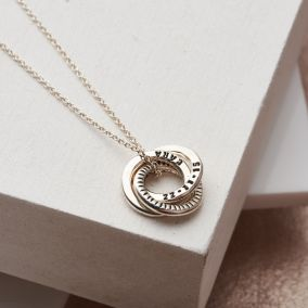 Personalised Striped Mini Russian Ring Necklace