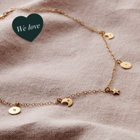 Personalised Sun, Moon & Star Station Necklace