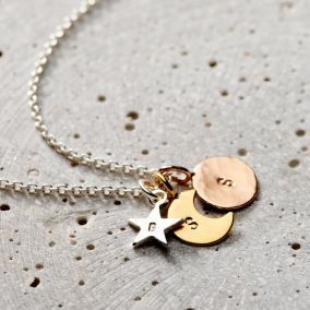 Personalised Mixed Gold Sun Moon & Star Necklace