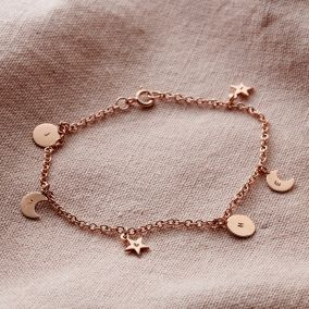 Personalised Sun, Moon & Star Station Bracelet
