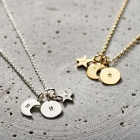 Personalised Sun Moon & Star Necklace