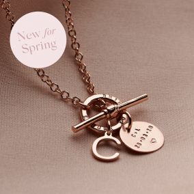 Personalised T-Bar Letter Charm Necklace