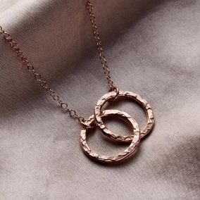 Personalised Textured Medium Double Hoop Necklace