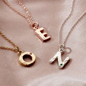 Textured Birthstone Initial Letter Necklace