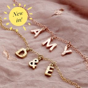 Textured Initial Letter Station Necklace