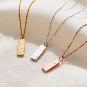 Textured Personalised Tag Necklace