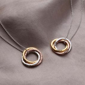 Personalised Textured Mixed Gold Russian Ring Necklace