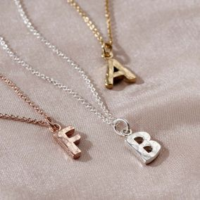 Textured Initial Letter Necklace