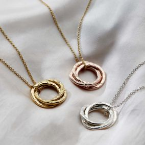 Personalised Textured Russian Ring Necklace