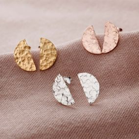 Textured Semi-Circle Stud Earrings